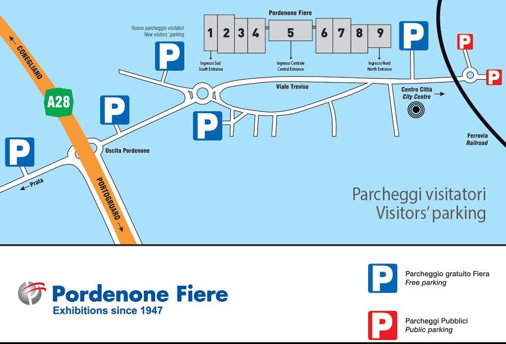 parcheggi visitatori Visita Scolastica a Fiera del Radioamatore Hi Fi Car di Pordenone