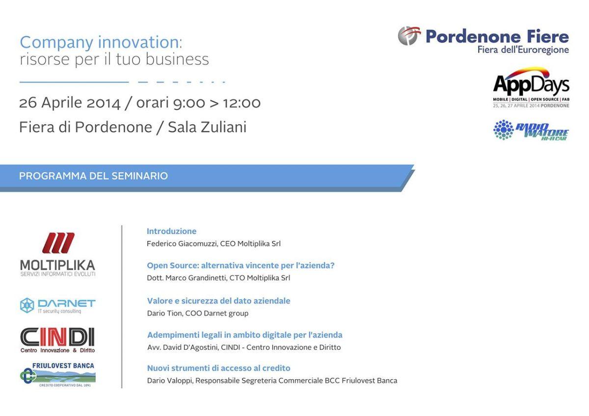 volantino seminario company innovation 1200x848 Seminario Company Innovation: risorse per il tuo business allAppDays 2014