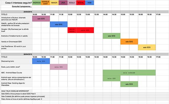 tabella orari Google Developers