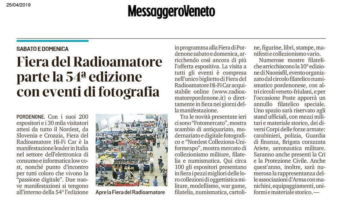 Messaggero 25042019 Rassegna Stampa Radioamatore Fiera 2019