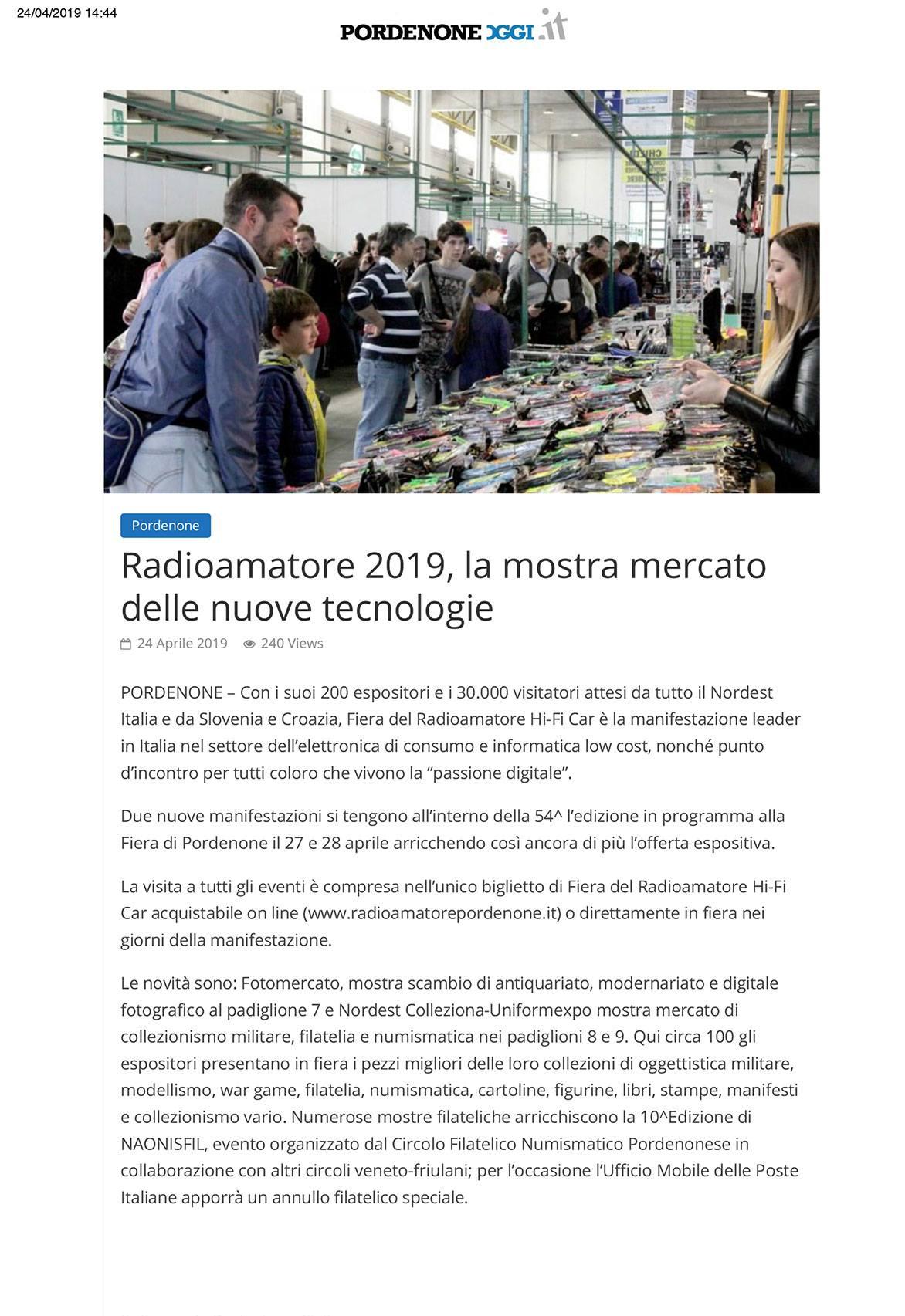 PordenoneOggi 24052019 Rassegna Stampa Radioamatore Fiera 2019