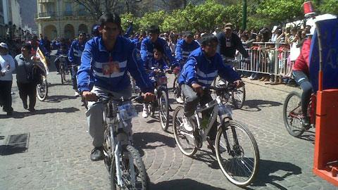 Imagen de la llegada de peregrinos en bicicleta el año pasado.