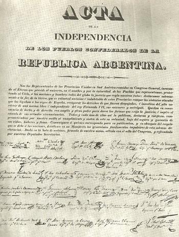 0 acta de la independencia