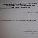 Criticas por las acreditaciones periodísticas en la Serenata a Cafayate