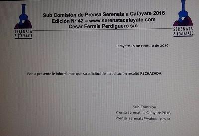 Una de las acreditaciones publicada por periodistas de Salta