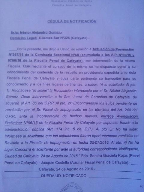 Copia del rechazo de la fiscal Rojas a la recusación