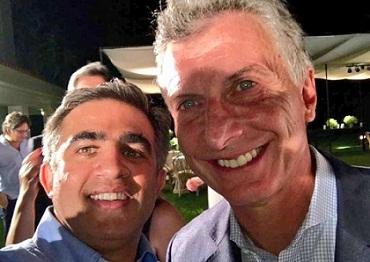 Miguel Nanni con el presidente Macri este martes en Olivos