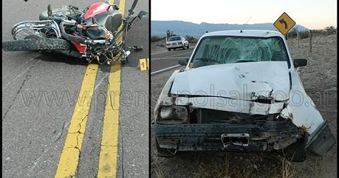 La moto y el auto protagonistas del accidente