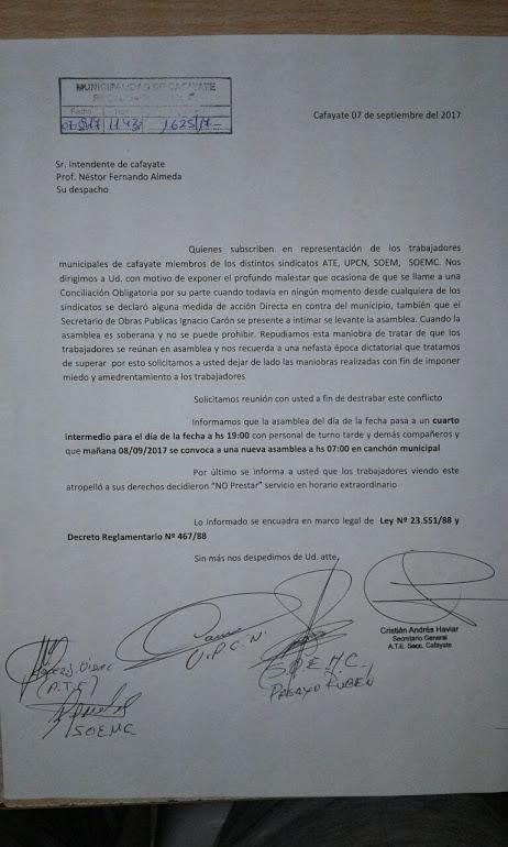 Copia de la nota  de los gremios dirigida al Intendente Almeda