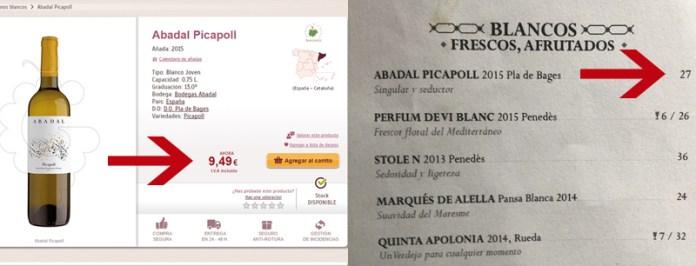 Comparació de preus d'un mateix vi, en una botiga on-line i en un restaurant