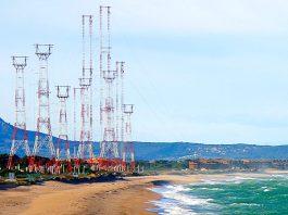 La Platja de Pals amb les antenes de Ràdio Liberty   Imatge d'arxiu
