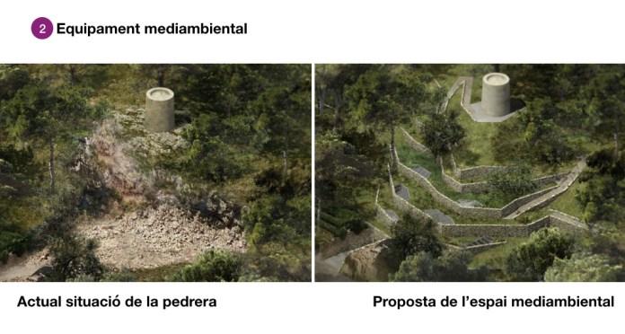 Proposta, a la dreta, del projecte de construcció a la pedrera de Cap Roig
