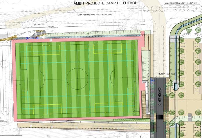 Pla de l'espai destinat al camp de futbol i de rugbi a Torroella de Montgrí