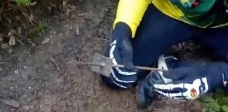 Fotograma del vídeo denúncia de les trampes per a ciclistes a les Gavarres
