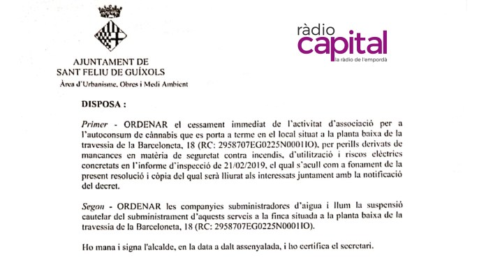 Fragment del decret d'alcaldia firmat per Carles Motas, alcalde de Sant Feliu de Guíxols en referència al local de fumadors de marihuana
