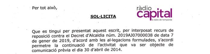 Petició del propietari del local de cultiu de marihuana a l'alcalde de Sant Feliu de Guíxols