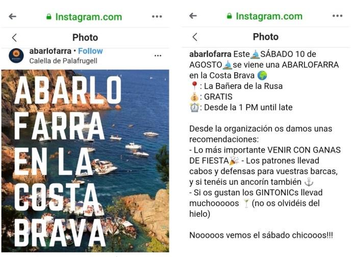 Imatges d'Instagram amb la convocatòria de la festa de @aberlofarra