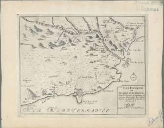 "Mapa de 1702 que porta per títol ""Les environs de Palamos et de Girone, dans la province de Catalogne en Espagne"""
