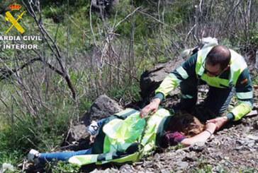 La Guardia Civil en coordinación con los Equipos Sanitarios auxilian a una persona que había sufrido un accidente de circulación