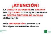 La colecta de sangre en Cartaya se traslada al Centro Cultural de la Villa con motivo de la pandemia del Covid-19