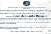 Radiotelevisión Cartaya retransmitirá el Rezo del Santo Rosario de este próximo domingo