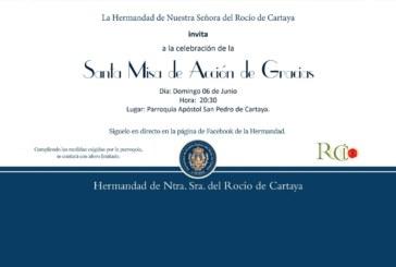 La Hermandad del Rocío de Cartaya celebra la Misa de Acción de Gracias