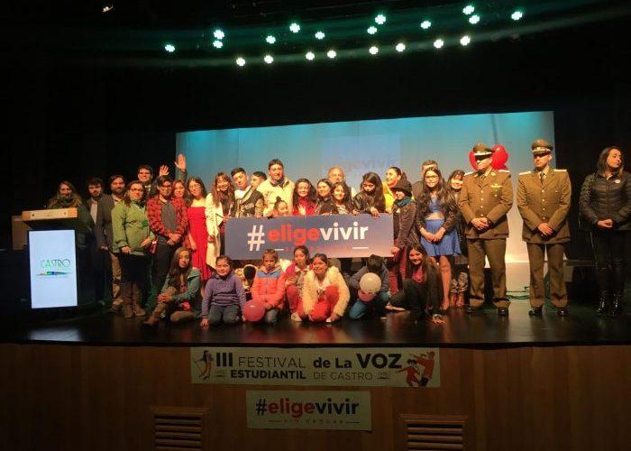 Castro: se realizó Festival de la Voz Estudiantil Elige Vivir Sin Drogas.