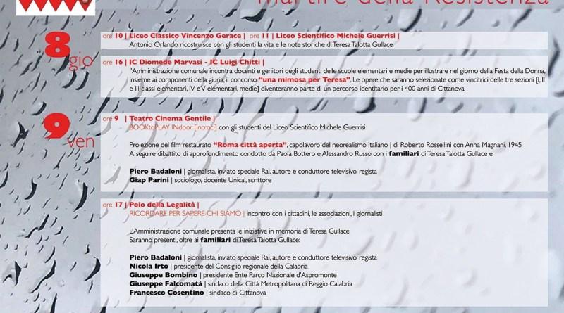 Cittanova, tre giorni di iniziative dedicate a Teresa Gullace 1