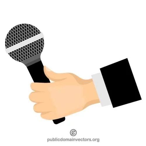 mano sosteniendo un microfono