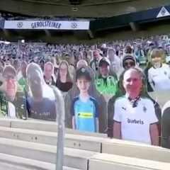 Calcio, migliaia di sagome di cartone nello stadio tedesco del Borussia Mönchengladbach
