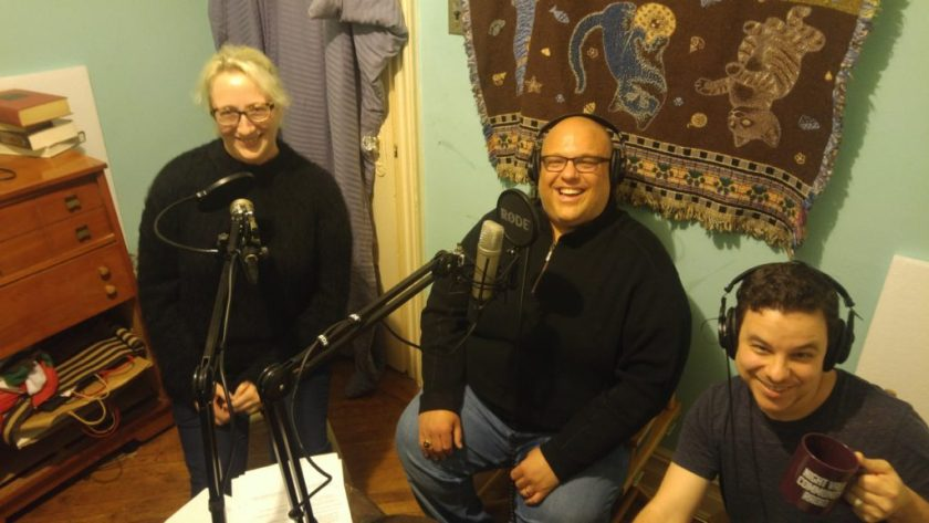Justin Brannan, Rachel and Dan pose in the studio while discussing how to build a new school in Bay Ridge.