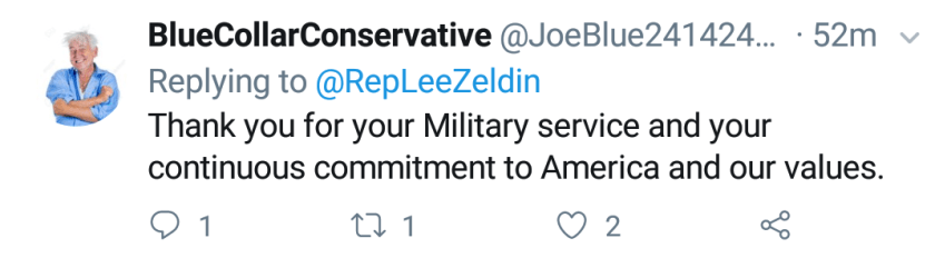 """Blue Collar Conservative Tweeted: """"Thank you for your Military Service and your continuous commitment to America and our values."""" to @RepLeeZeldin"""
