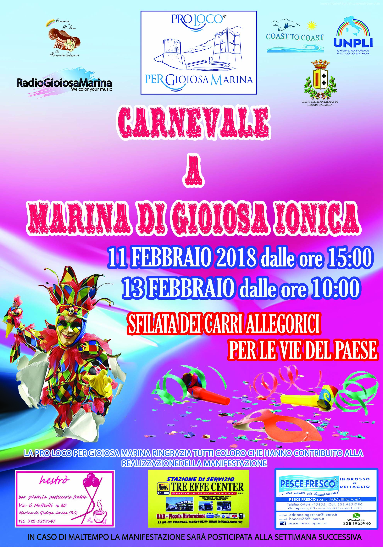 locandina carnevale 2018 a marina di gioiosa ionica organizzato dalla pro loco per gioiosa marina