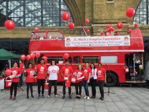 The St Mark's Hospital Foundation team with the bus
