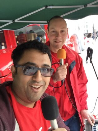 Shrey Puranik and Ben Hart broadcasting live from Kings Cross