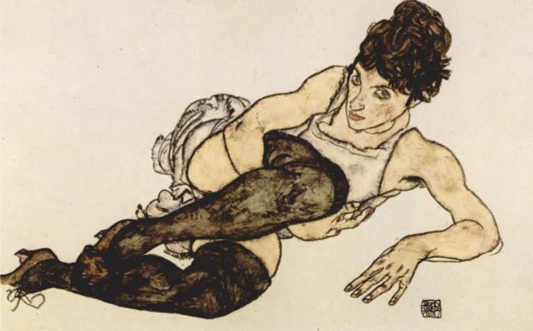 Egon Schiele – Donna seduta con un ginocchio piegato