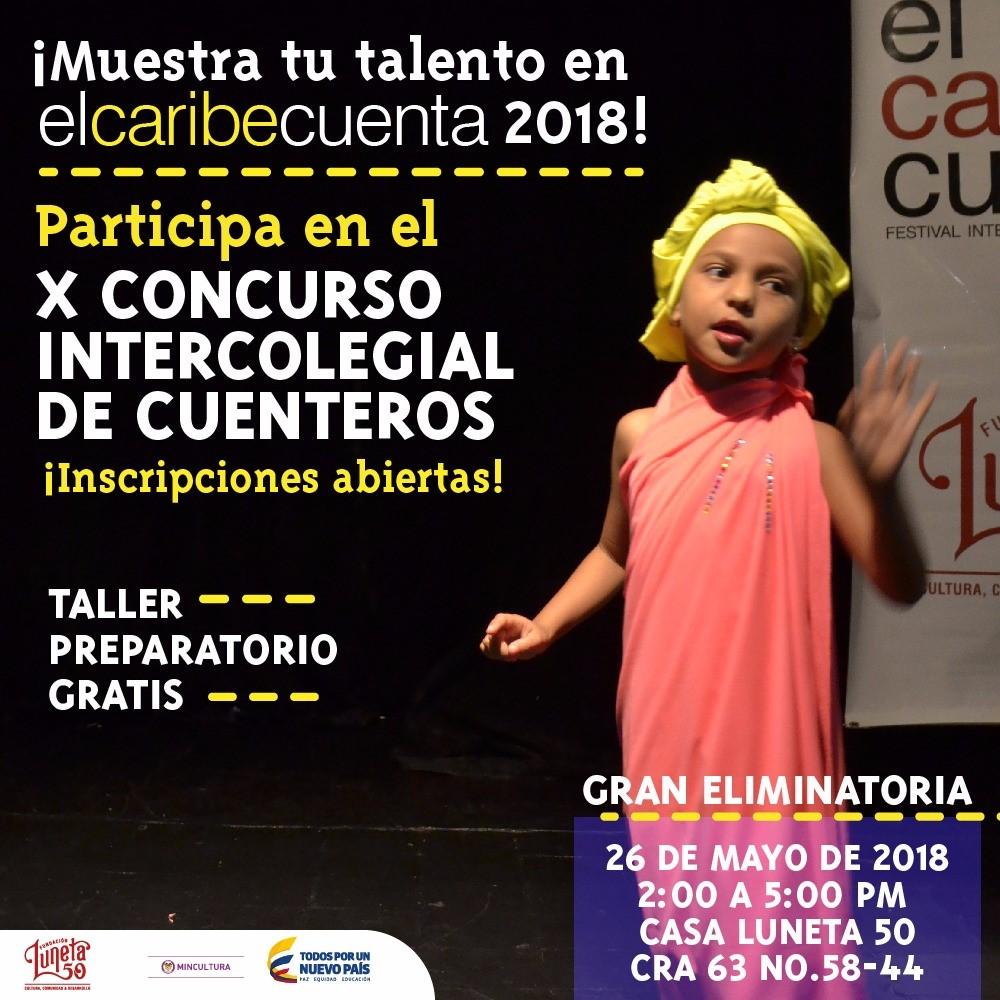 """Abierta inscripciones del Concurso Intercolegial de Cuenteros """"el caribe cuenta"""" - 2018 - ar2-c"""