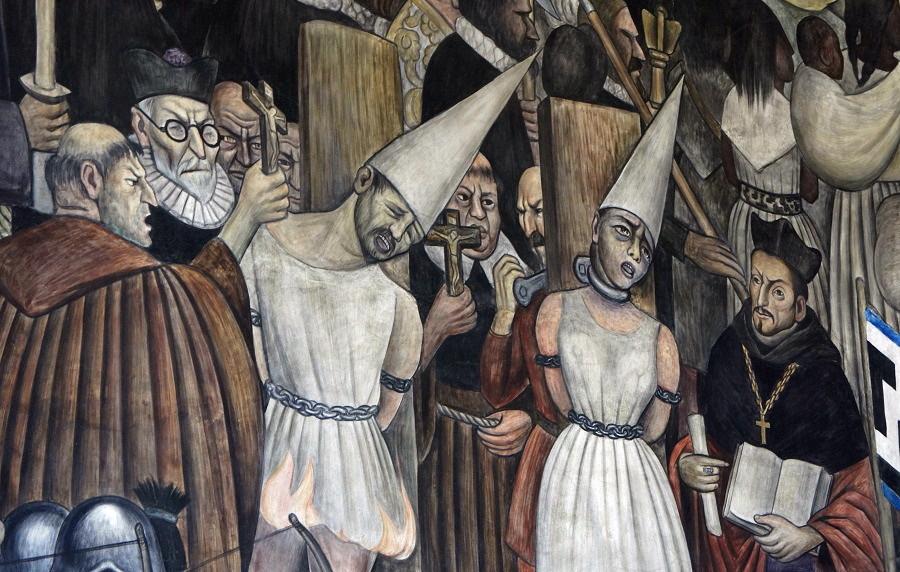 12 del patíbulo de 1492 ¿Cómo blanquear la leyenda negra - Diego-Rivera.-Condenados-al-garrote-vil-por-la-inquisición.