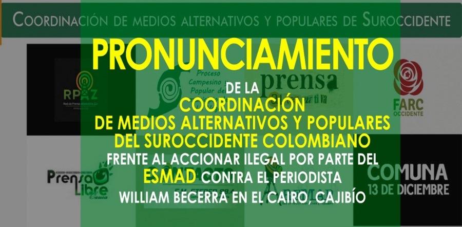 ESMAD golpea a periodista y roba sus equipos en el Cauca - Coordinacion-Medios-Alternativo-Suroccidente-Minga
