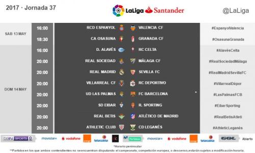Horarios de la jornada 37 de #LaLiga Santander radiomarcabcn