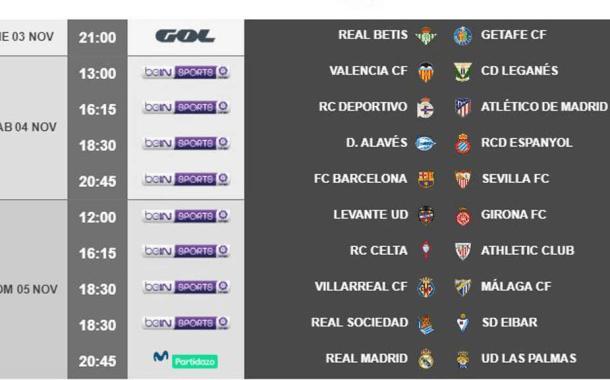 Horarios de la jornada 11 de primera división