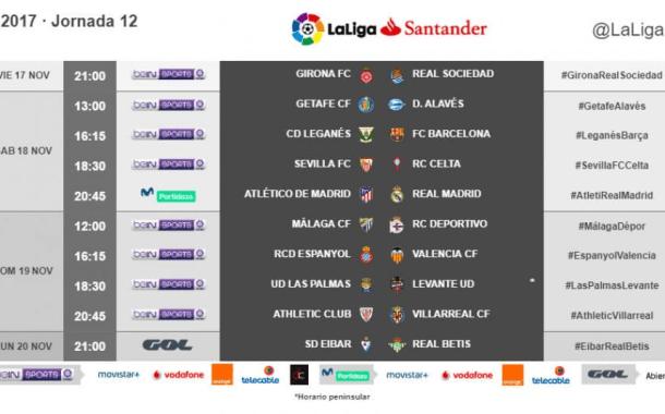Ya hay horarios de la 12ª jornada de primera división, entre el viernes 17 y lunes 20 de noviembre
