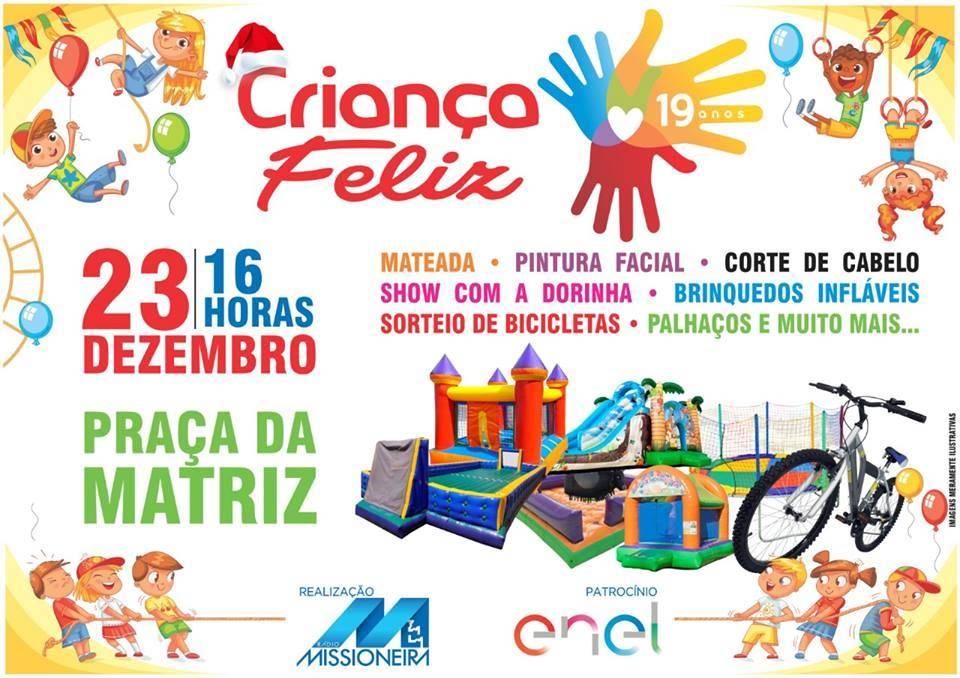 Criança Feliz da Rádio Missioneira ocorre neste domingo na Praça da Matriz de São Luiz Gonzaga