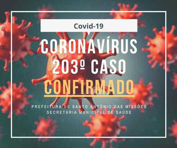 Santo Antônio das Missões confirma mais cinco casos de Covid-19, totalizando, até o momento, 203 pessoas infectadas com o vírus