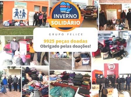 Grupo Felice arrecada mais de 9 mil peças na campanha Inverno Solidário