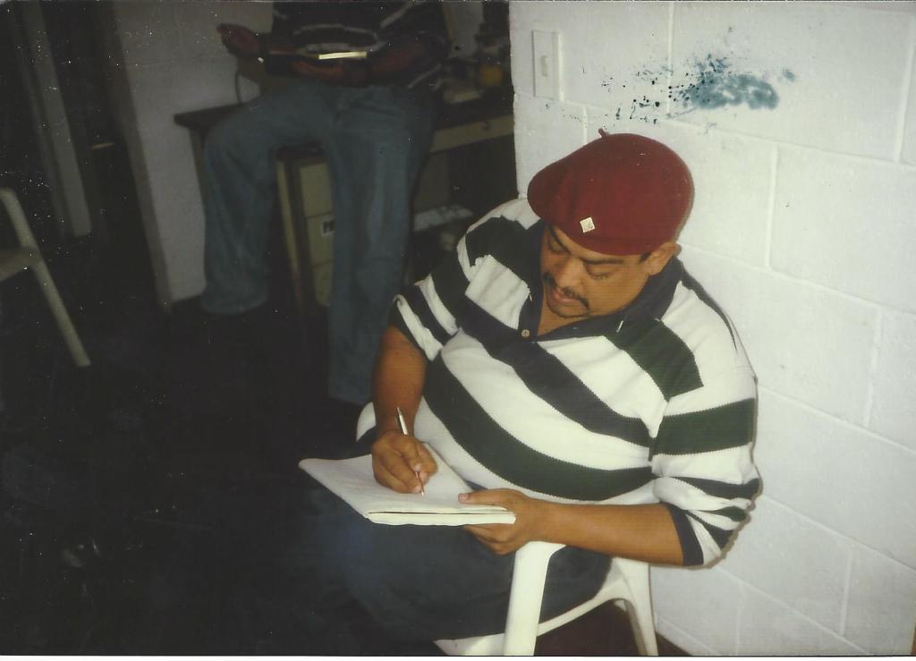 Panza Loca taking notes at Homies Unidos meeting