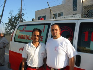 Red Crescent ambulance personnel