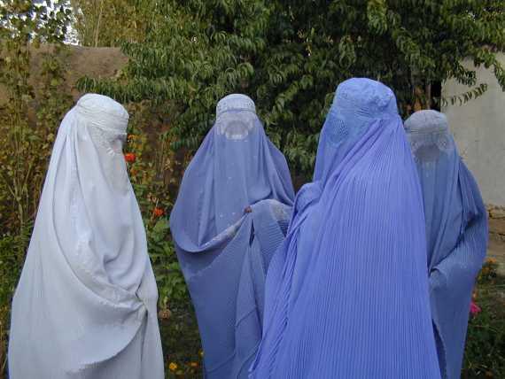 Women wearing burqas