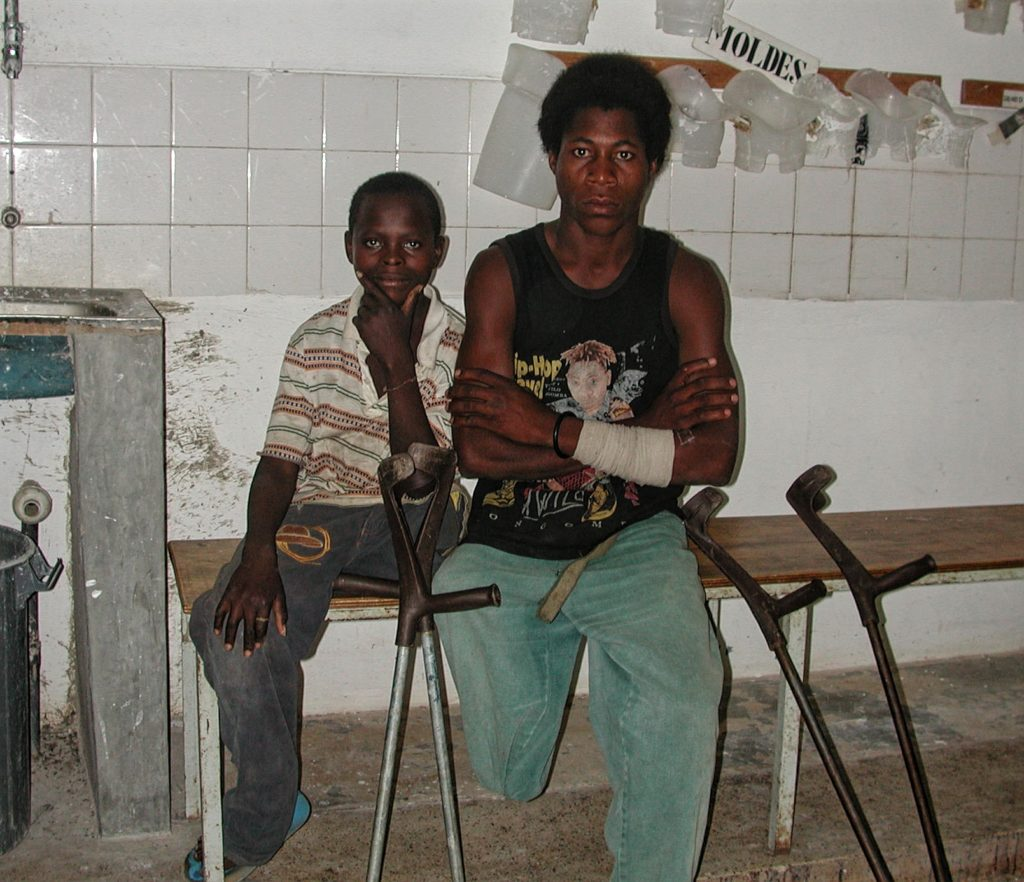 Young landmine victims