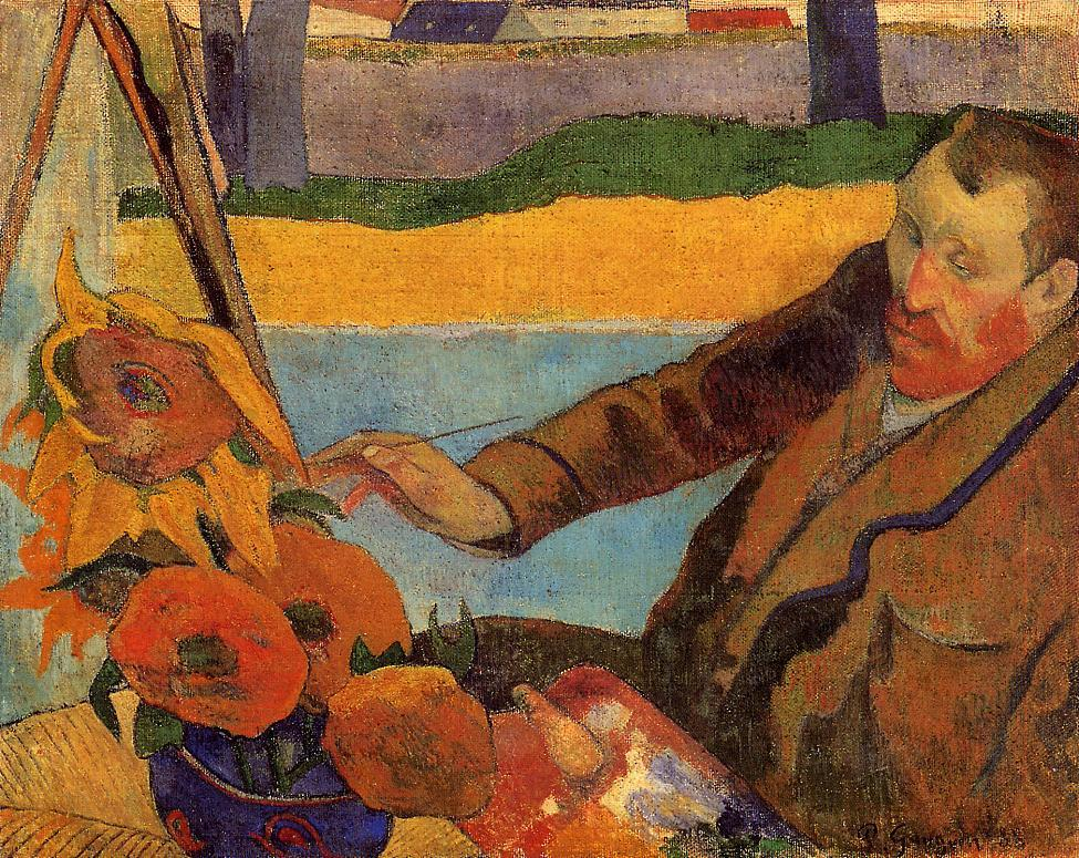 Vincent Van Gogh painting Sunflowers, painted by Paul Gauguin in 1888
